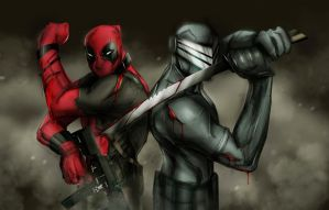 DEADPOOL SNAKE EYES WALLPAPER by suspension99