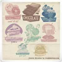 Retro Sweets Shabby Chic High Res PS Brushes by RussDepress