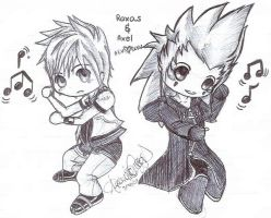 Roxas and Axel Chibis + In Pen by AquaNinjaPirate