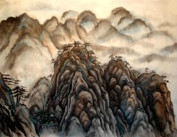 Chinese landscape by retrogrlfan