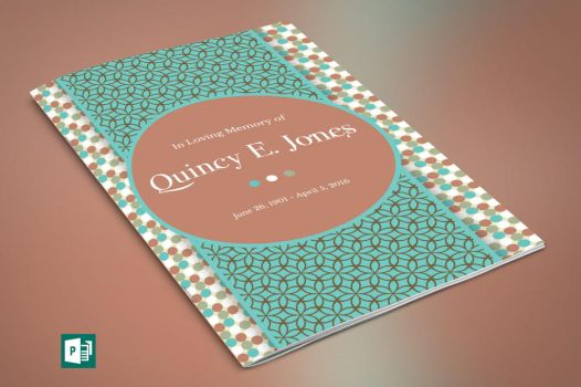 Teal Funeral Program Publisher Template by Godserv