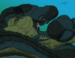 The Swimmer and the Leviathan by SpottedAlienMonster