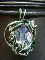 abalone freeform in green and silver by BacktoEarthCreations