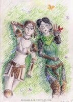 Dalish elves friends by Aldanika