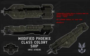 Modified Phoenix Class Colony ship ortho (2) by unusualsuspex