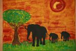 elephants in sunset by ingeline-art