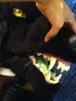 Black Werewolf Fursuit Head (Side View and jaws) by The-Black-Wolfess