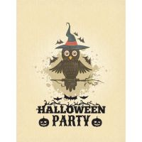 Vector Witch Owl sitting on branch Halloween par by cgvector