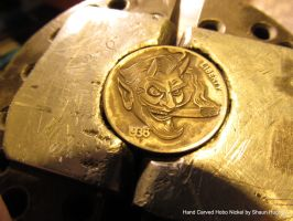 Tattoo Devil Coop Coin Carving by Shaun Hughes by shaun750