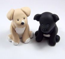 Puppies Wedding Cake Topper by HeartshapedCreations