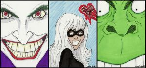 Comic Sketch Cards by FaerieShadows