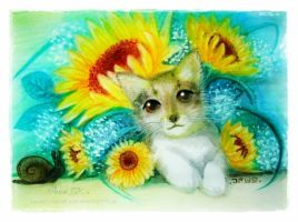 Cat and sunflowers by Rinmeothichca