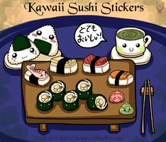 Kawaii Sushi Stickers by Kafae-Latte