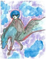 cool guy riding a dragon by Belloso-Male