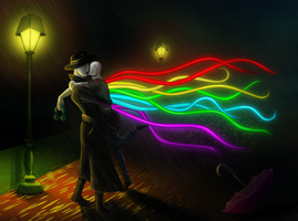 Raverman Kiss In Rain Commission by arcanineryu