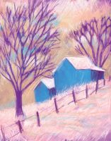 two barns in snow by usartdude