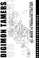 Digimon Tamers Line Art WIP by TheNotoriousGAB