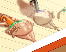 Nami And Robin Ass Tanning Colored by ButLova