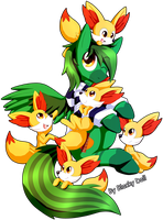 GT:Green String and Fennekins by Blacky-Doll