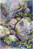 Plein air in Crimea. Stream in the forest by OlgaSternik