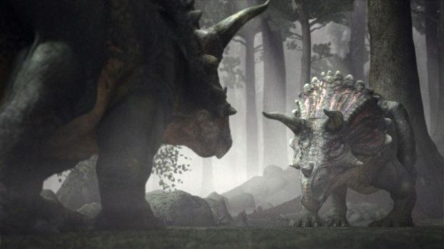 Triceratops' begins to fight by WillDynamo55