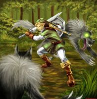 Link Vs Wolfs by ZaloHero