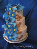 Blue daisy and calla lily cake by cake-engineering