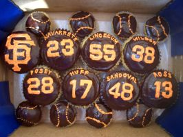 San Francisco Giants Cupcakes by iliketodoodle