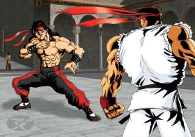 Liu Kang vs Ryu by Xedpheniah