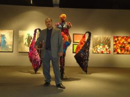 Adel Al Abbasi with his Sculptures by Adel-Alabbasi