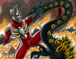 Ultraman Max vs. The Natsunome Dragon by kaijukid
