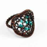 Copper and Mint Beaded Scroll Ring by sylva