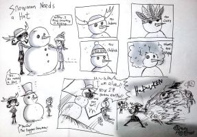 Snowman Needs A Hat by RavenBlackCrow