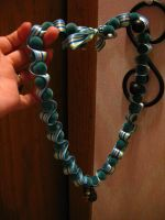 teal ribbon and bead necklace by KoziBot