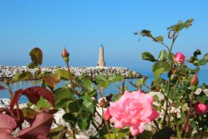 Lighthouse of Marbella with Roses by AgiVega