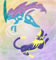 Suicune and Feralithe by Whitestar1802