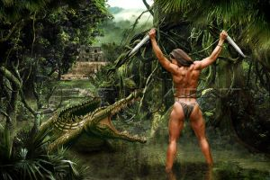 crocodile vs amazone by Alaindien