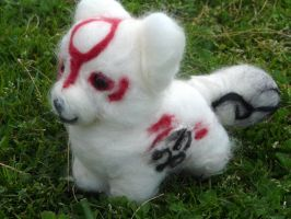 Needle Felted Amaterasu/Chibiterasu by Throughawolfseyes