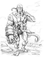 Hellboy pencil sketch by Mortal-Mirror