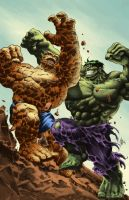Thing vs Hulk by apalomaro