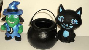 Vinyl Witch and Cat Set Blue by Buddhadragon