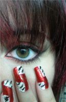 Red n Animal print nails by MorticiaVamp