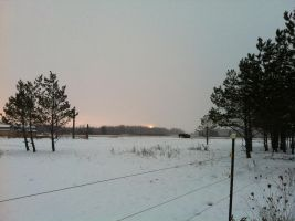 Snowy Evening Sunset 4 by dcrods