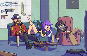 Commission: Gamer Pals by Jurassiczalar