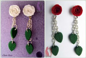 Polymer Clay Chain Roses Earrings by Talty