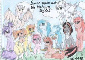 Sonic main cast (in MLP style) by SkyCircle777