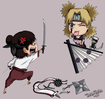 Commission Tenten VS Temari by icha-icha