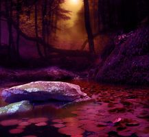woods and lake red BG by starscoldnight by StarsColdNight