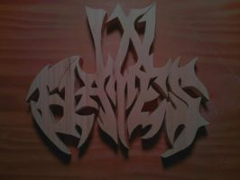 In Flames Logo Wood Carving by Eleven1129