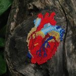 Beaded Pendant 'Anatomic Heart' by releaserevolverenew